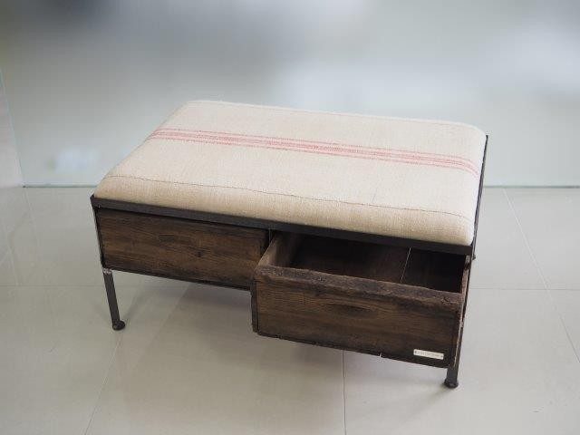 品番UESW-117  2drawer ottoman[wide/European grain sacks]