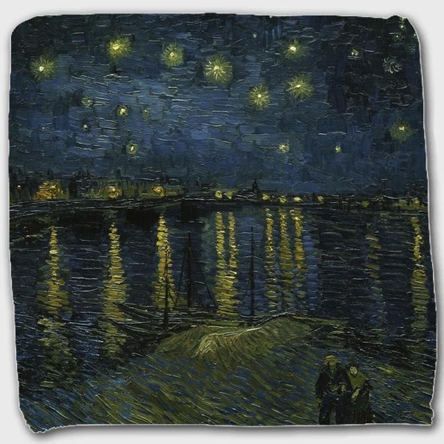 ゴッホ「ローヌ川の星月夜」 ハンドタオル