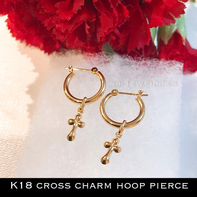 K18 クロス チャーム フープピアス 18金 cross charm hoop pierce