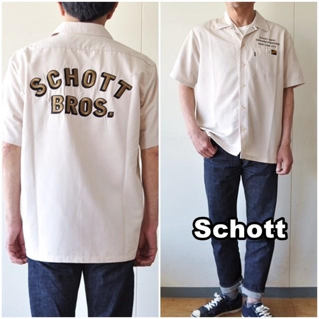 schott ショット 半袖オープンカラーワークシャツ 3115058 半袖シャツ オープンカラー