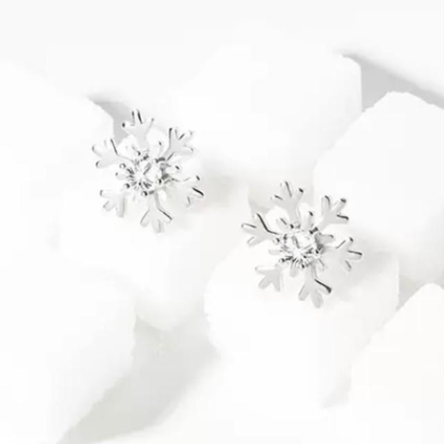 シンプル 雪の結晶 デザイン ピアス ワンカラー B5049【11/29まで30%OFF!!】