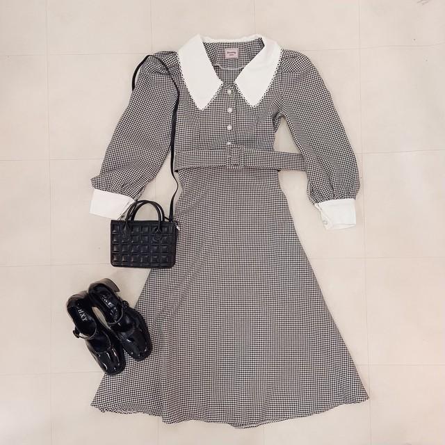【9/24発売START】【即納】gingham long dress