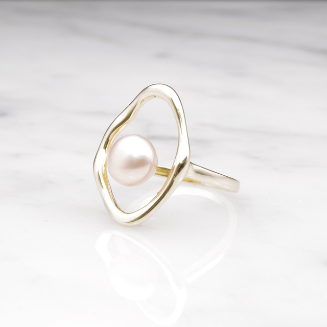 S925 SINGLE PEARL OPEN RING GOLD × PINK