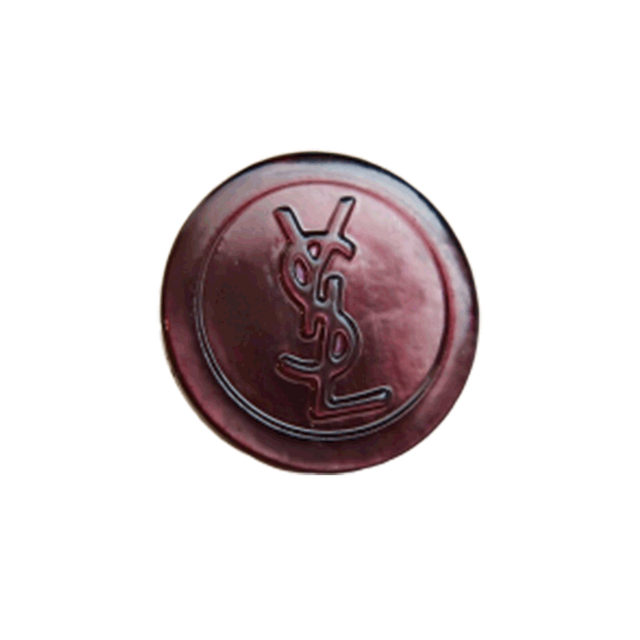 【VINTAGE SAINTLAURENT BUTTON】蝶貝ブラウン YSL ロゴ ボタン 15mm Y-20001