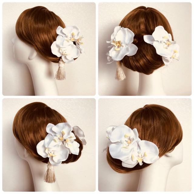 M様御売約御検討中 : 白無垢に♡純白の胡蝶蘭とタッセルの和装髪飾り(6点セット)