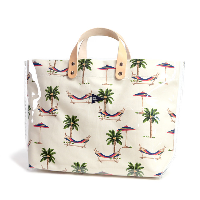 """SWITCHING TOTE(LARGE -CLEAR-)""""Lucy"""" PALM TREE / スウィッチングトート(ラージ -クリア-)""""ルーシー"""" パームツリー"""