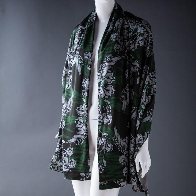 new S005 ダブルフェイス大判ストール Green print x Knit Gray
