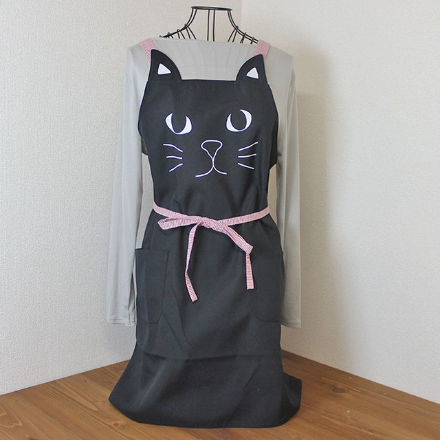 【猫柄】リバーシブルエプロン(水色)【猫モチーフ 猫雑貨】