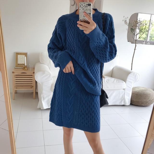 新春5%OFF セットアップ ケーブル編み セーター スカート RPSET102002