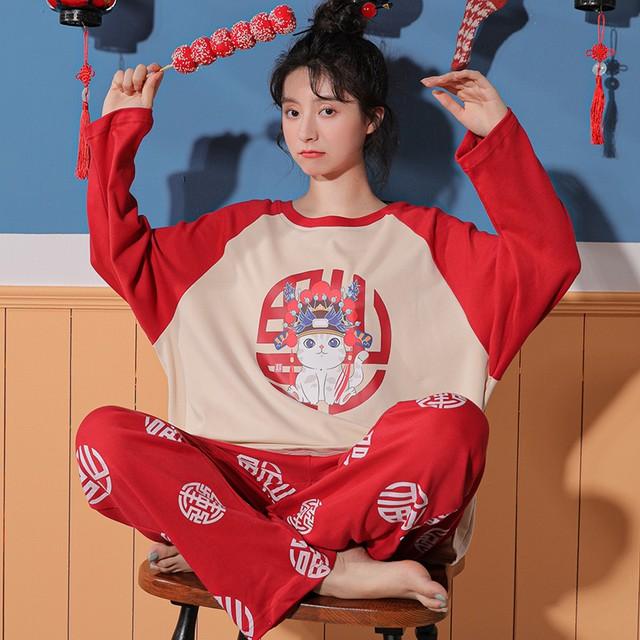 【惜梦妮シリーズ】チャイナ風パジャマ セットアップ トップス+ズボン コットン M L LL 3L 猫模様