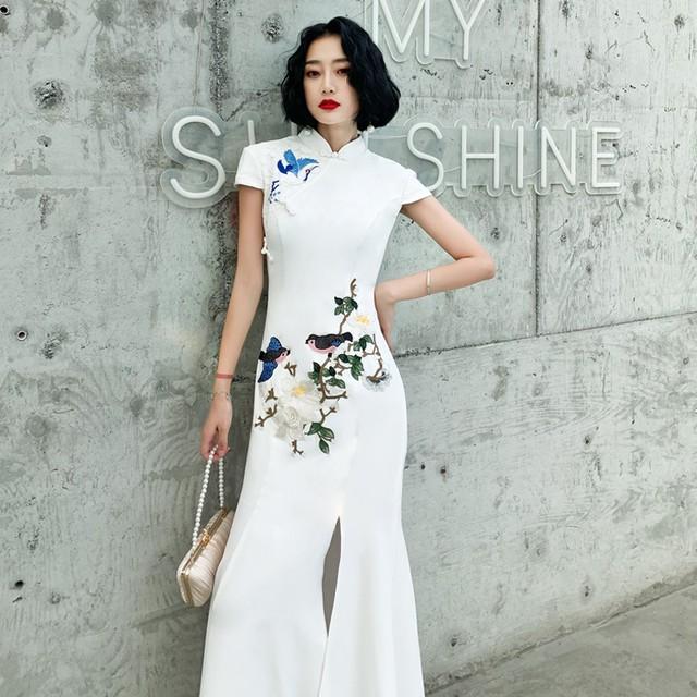 ロング丈チャイナドレス 改良型チャイナドレス チャイナ風ワンピース ロングドレス 半袖 大きいサイズ S M L LL 3L 4L 民国風 エレガント チャイナ風服 ホワイト 白い マーメイドライン