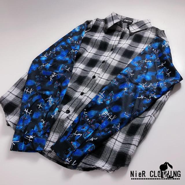 袖切替チェックシャツ