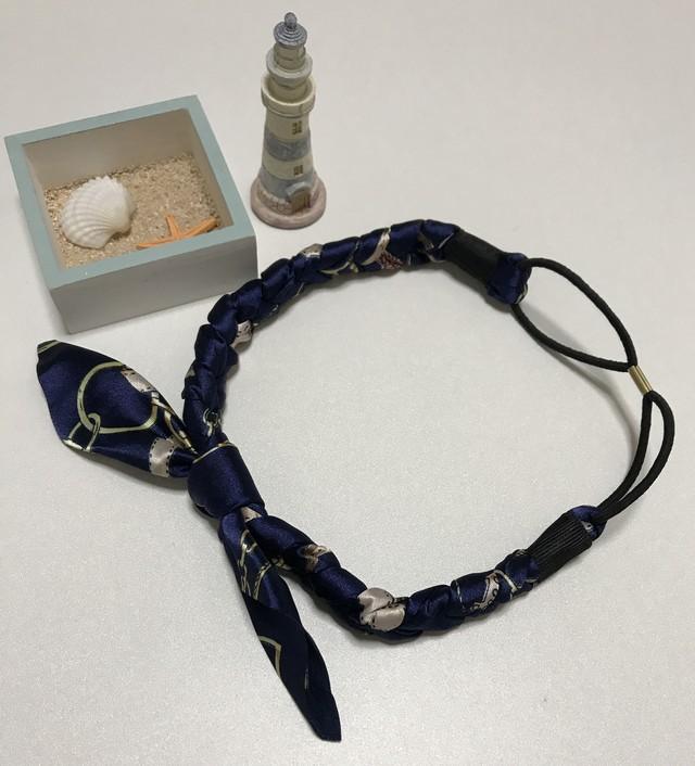 カチューム ゴムカチューム カチューシャ スカーフ柄三つ編みリボン レディース ネイビー
