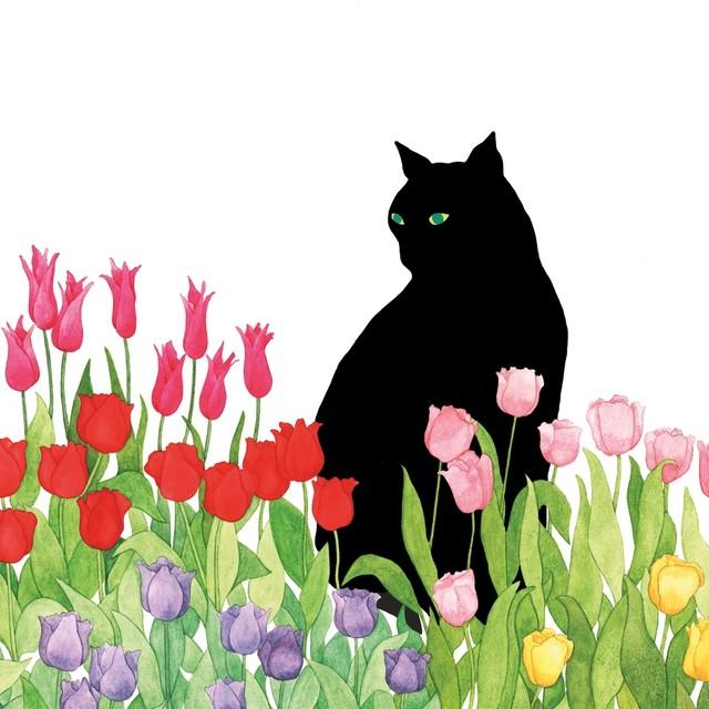 【Paperproducts Design】バラ売り2枚 ランチサイズ ペーパーナプキン Black Cat Tulips ホワイト