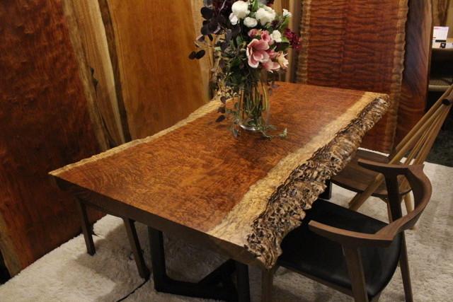 ≪青山店≫ ブビンガ 極玉杢 2枚剥ぎテーブル 1600×750-1020×60 19820