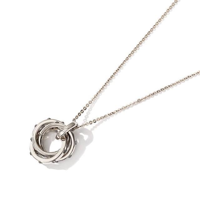 3つ輪 輪っか ネックレス ロングチェーン 韓国アクセサリー ペンダント リング 合金 メッキ アクセサリー ジュエリー / Long chain decorative ring necklace (DTC-562576983808)