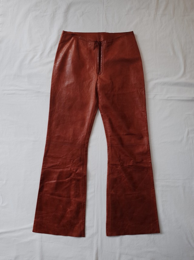 Used TROUSERS leather flare pants