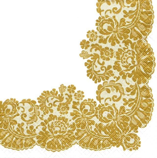 【TETE a TETE】バラ売り2枚 ランチサイズ ペーパーナプキン LACY FRAME ゴールド