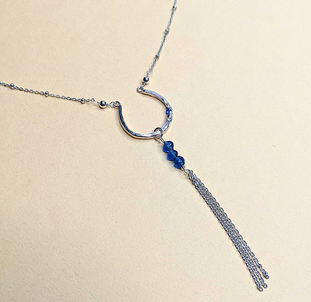 2 WAY Glass bead + Blue Spinel necklace | MIHO meets RUKUS x People Tree