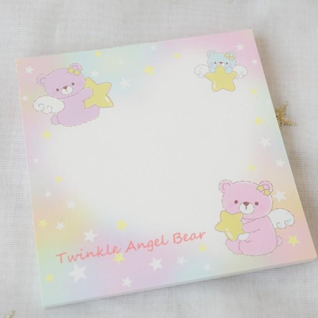 【ぬぬるす】♡オリジナル♡Twinkle Angel Bear/真四角メモパッド