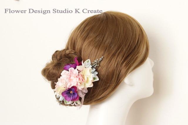 ピンクの薔薇とパンジーのコーム 結婚式 ピンク バラ 紫陽花 髪飾り ブルースター