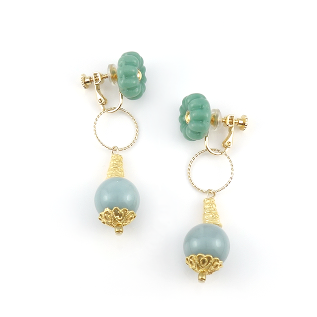 "【2way】 flower cushion_earrings ""mint"" gea04"