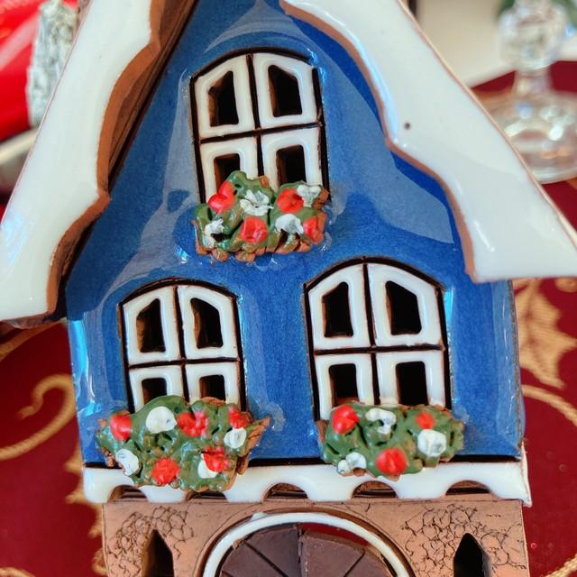 ドイツ 可愛い焼物ブルーのお家