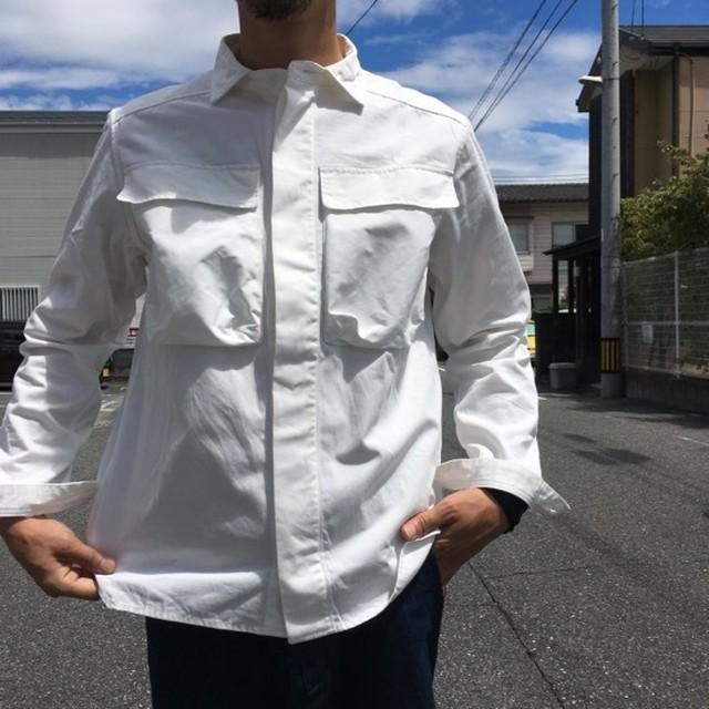 LOLO(ロロ) Wポケット&エルボーパッチ長袖シャツ オフホワイト