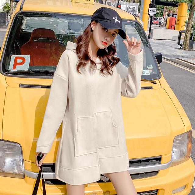 【tops】毛玉飾りフード付きミドル丈厚くてパーカー 23826896