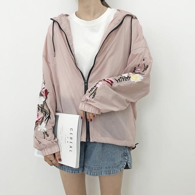 【outer】配色花柄刺繍ジッパー長袖フード付きジャケット