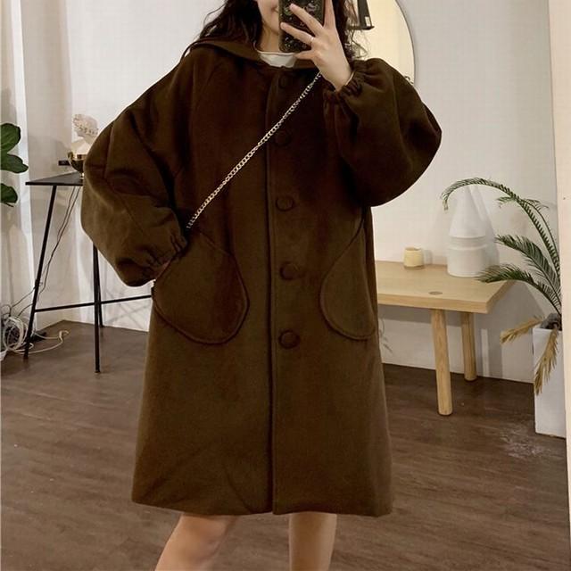 フード付き コート 韓国 ファッション レディース ポケット ランタンスリーブ パフ袖 アウター ロング丈コート ウールコート ウール レトロ / Lantern sleeve hooded loose wool coat tide (DTC-606921346543)
