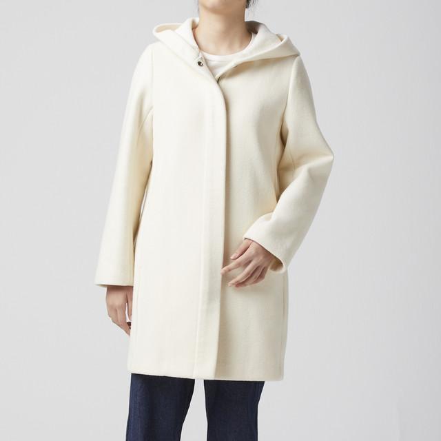 WOMEN コート ボンディング メルトン フード 冬物 ホワイト