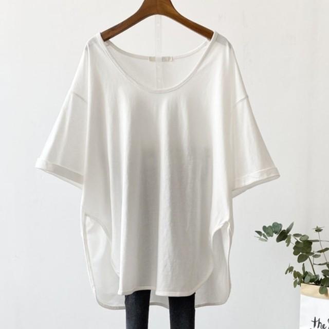 【トップス】絶対流行 カジュアル5colour無地ゆったりVネック半袖Tシャツ46052670
