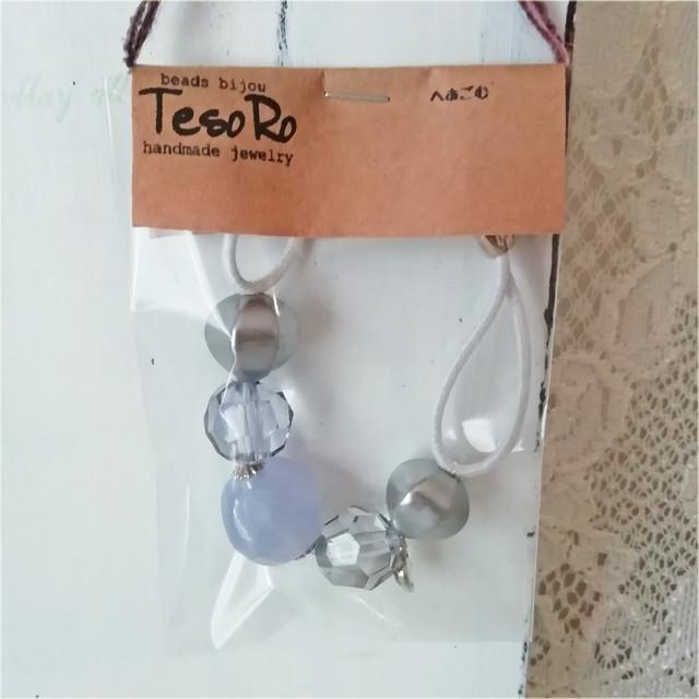 TesoRo:ヘアゴム白  ハート(小さなチャーム)グレー 手首に付けても可愛い♪