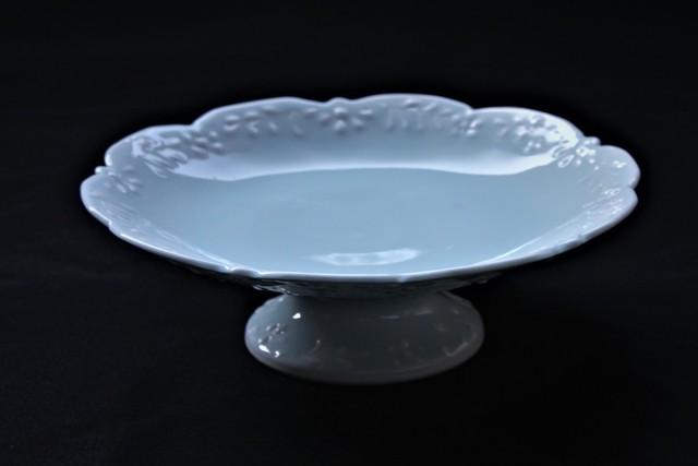 青磁花繋ぎ5寸高台皿