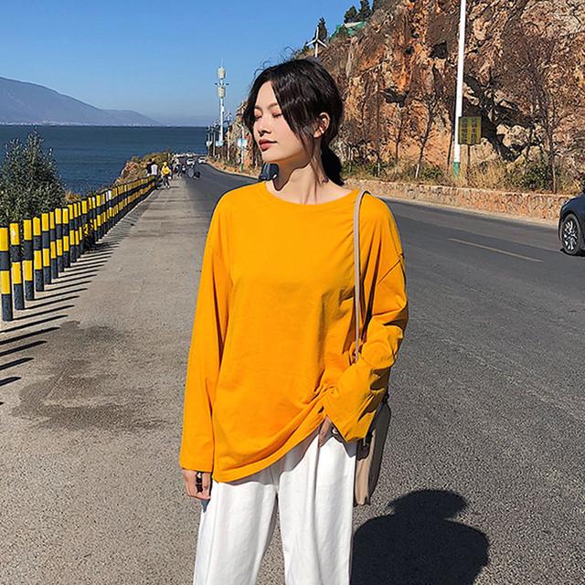 【tops】無地韓国系ルーズゆったりラウンドネックカジュアル長袖Tシャツ