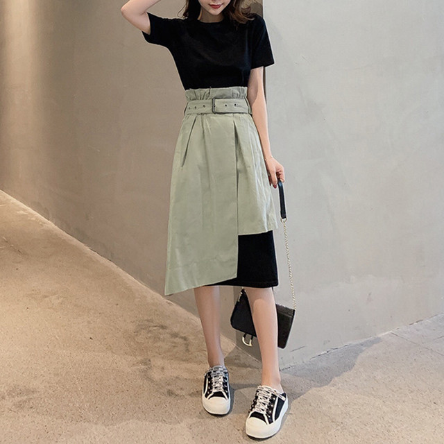 【set】半袖ラウンドネックAラインハイウエストロングTシャツ+スカート2点セット