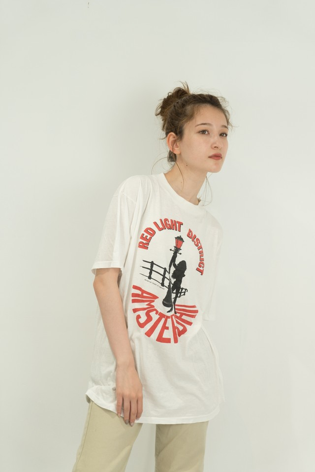 ◼︎80s vintage RED LIGHT DISTRICT nude lady T-shirts from U.S.A.◼︎