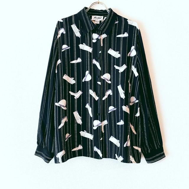 ◼︎80s vintage ladies & gentlemen print silk blouse◼︎