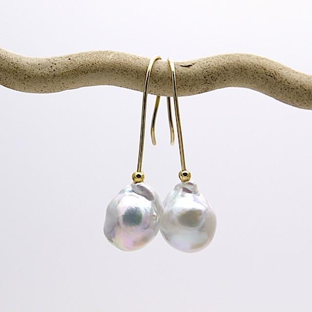 あこや真珠のバロックピアス OPi-045