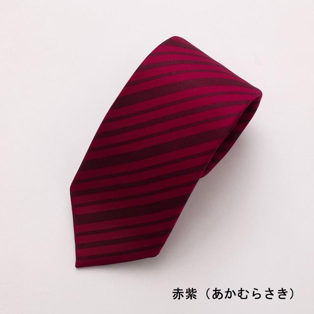 ネクタイ「衿結」献上博多シリーズ ストライプ献上:赤紫