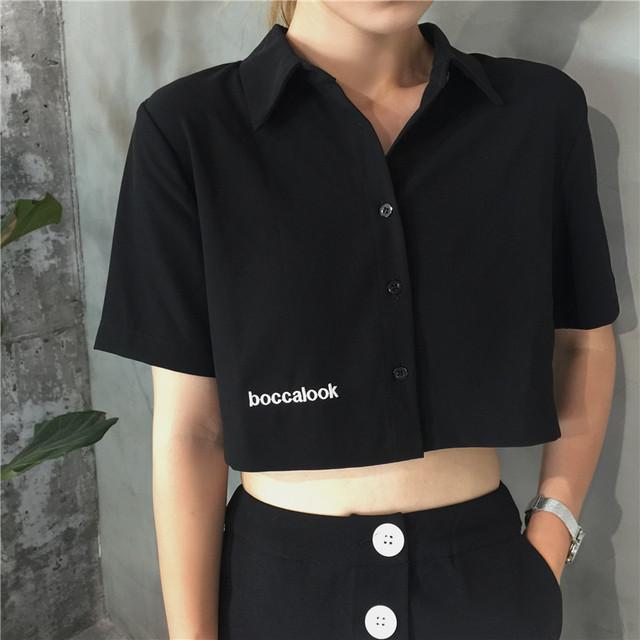 【tops】個性ファッションショート丈アルファベット刺繡半袖シャツ
