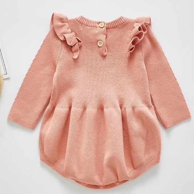 【可愛い韓国子供服】 5978 フリフリ ニット ロンパース 女の子 新生児 送料無料