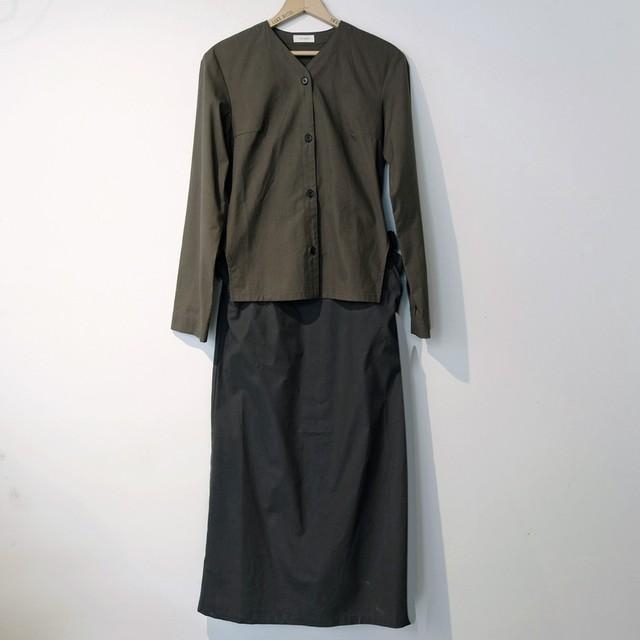 【30%オフ】THE HINOKI ザ・ヒノキ  コットンパラシュート クロスセットアップドレス OLIVE BROWN×BLACK
