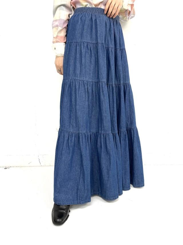 denim tiered skirt / 3SSSK01-20