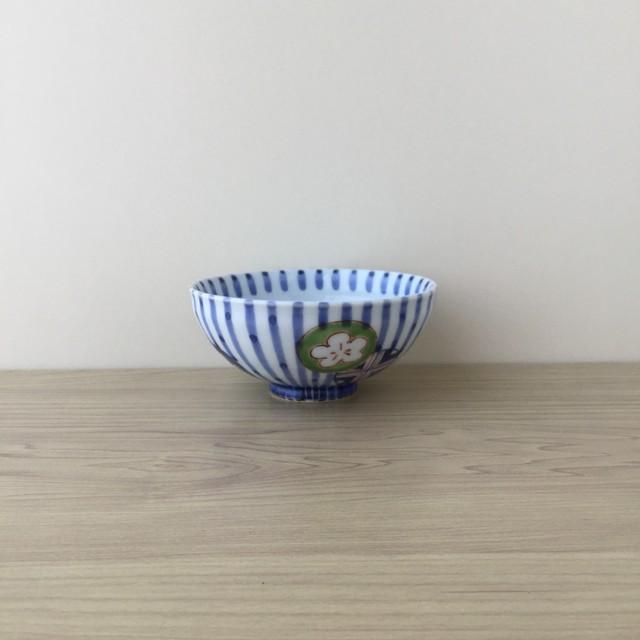 【有田焼】染錦丸紋濃十草 飯碗(大)