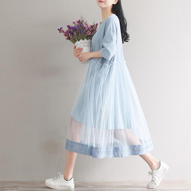 【dress】可愛いスウィート清新チュール切り替え五分袖ラウンドネックカジュアルワンピース