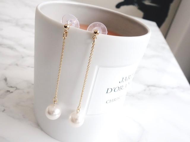 pearl chain pierce,earring