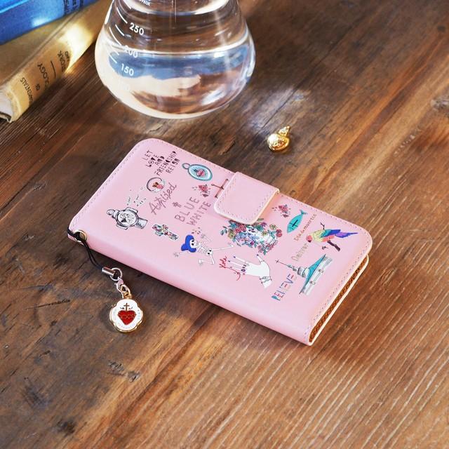 Amijed+BLUEWHITE 手帳型スマホケース ピンク