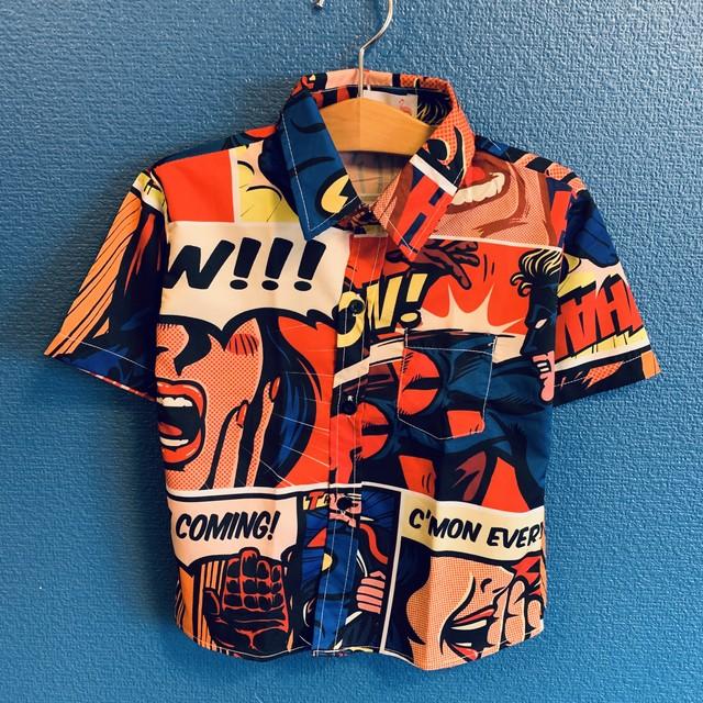 アメコミヒーローのキッズアロハシャツ